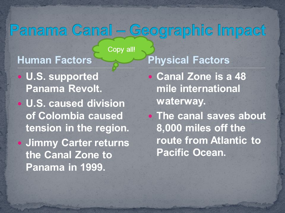 Panama Canal – Geographic Impact