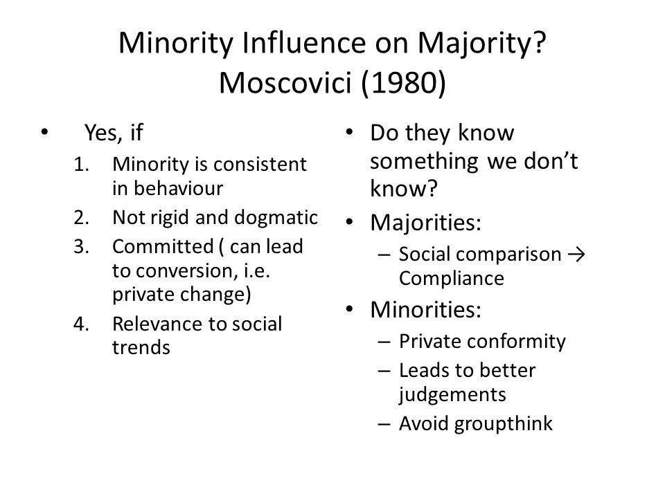 Minority Influence on Majority Moscovici (1980)