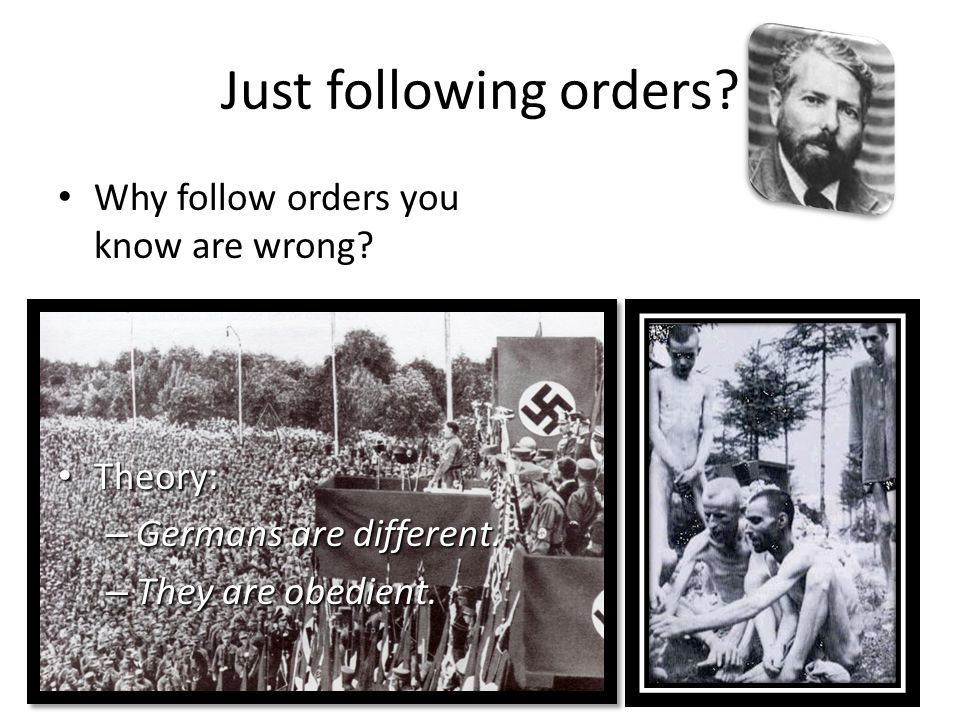 Just following orders Why follow orders you know are wrong Theory: