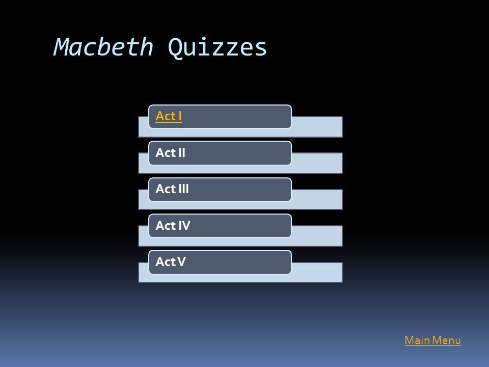 Macbeth Quizzes Act I Act II Act III Act IV Act V Main Menu
