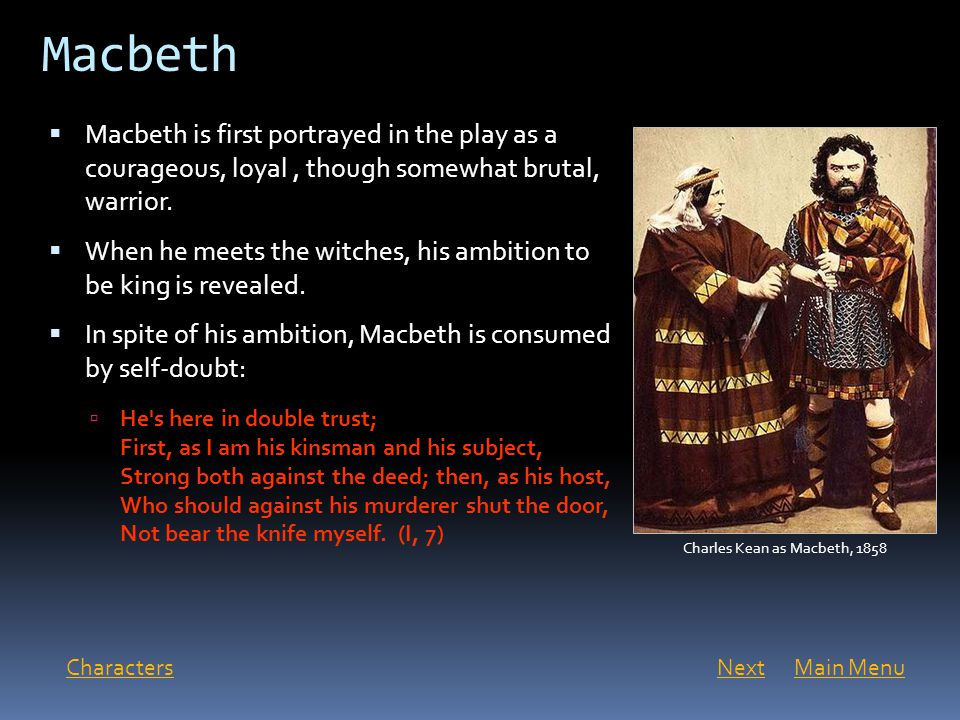 macbeth character analysis of Everything you ever wanted to know about macbeth in macbeth our character analysis wouldn't be complete without a look at macbeth's super famous act 5.