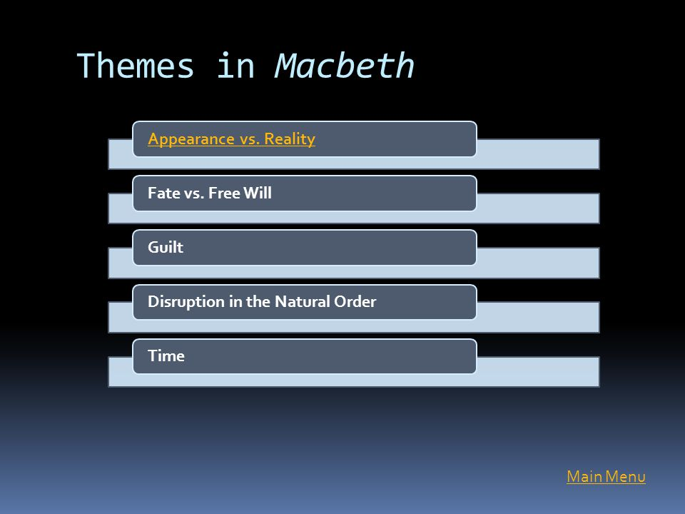 macbethh free will Shakespeare well understood attitudes toward fatalism and free will and  presented  in macbeth, free will and fate become intertwined, paradoxically,  after the.