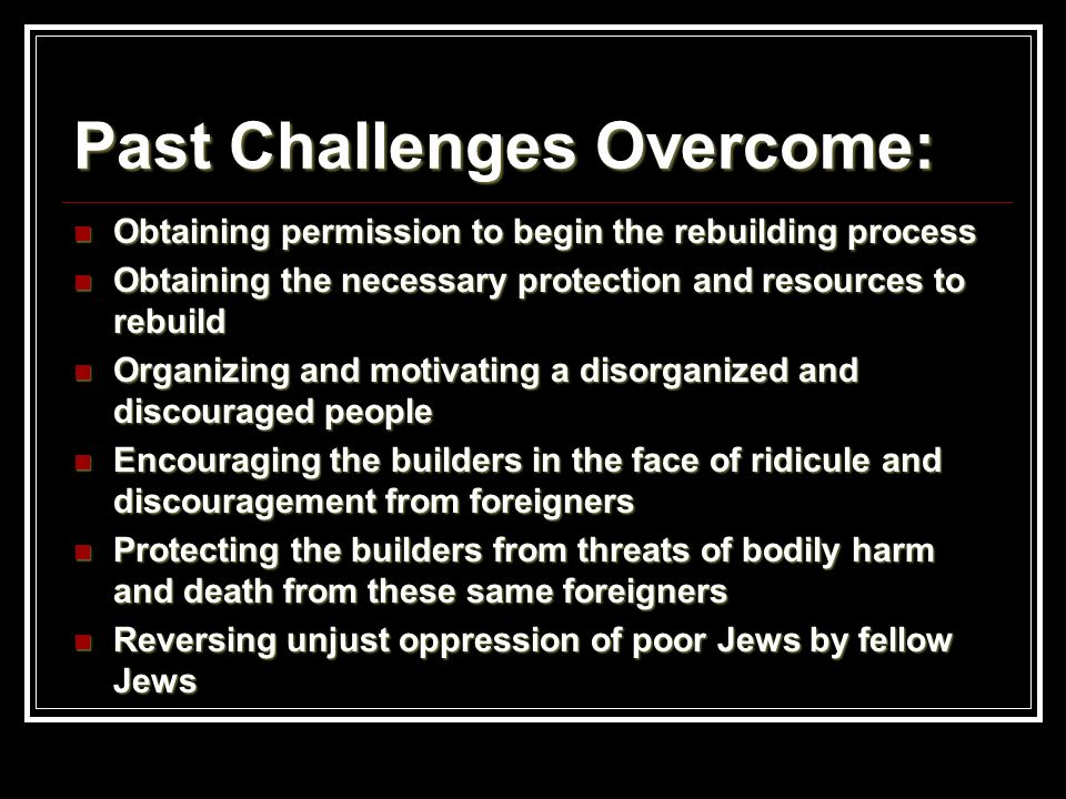 Past Challenges Overcome: