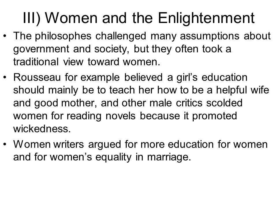 III) Women and the Enlightenment