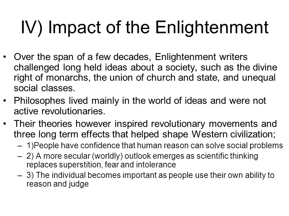 IV) Impact of the Enlightenment