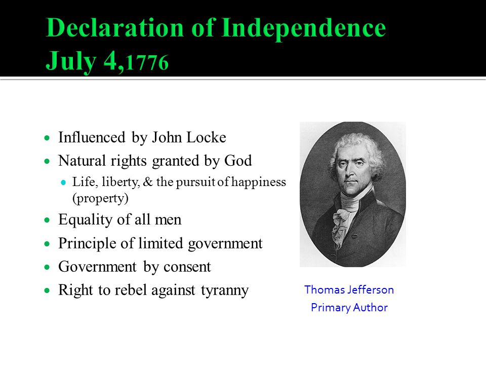 Declaration of Independence July 4,1776