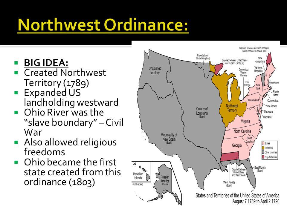 Northwest Ordinance: BIG IDEA: Created Northwest Territory (1789)