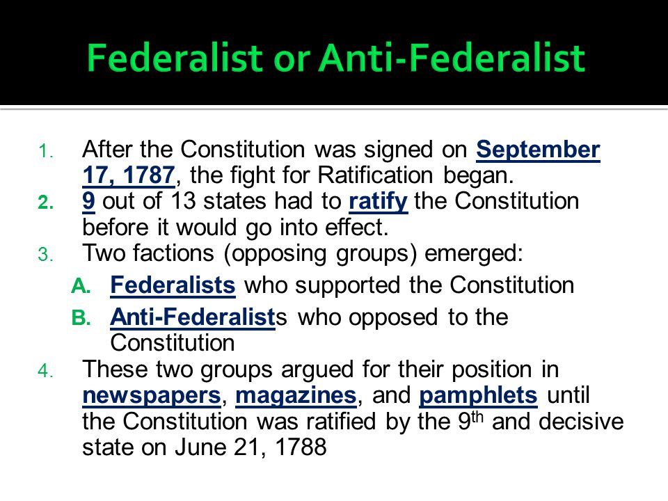 Federalist or Anti-Federalist