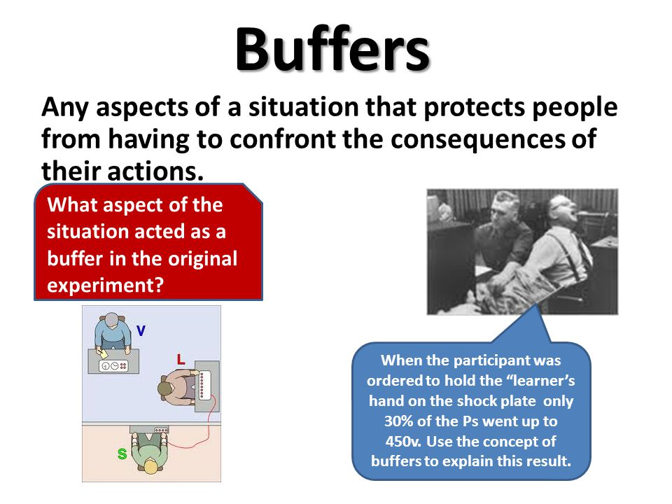 Buffers Any aspects of a situation that protects people from having to confront the consequences of their actions.