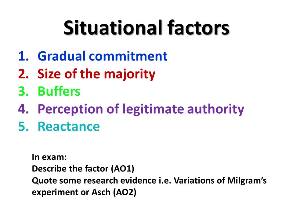 Situational factors Gradual commitment Size of the majority Buffers