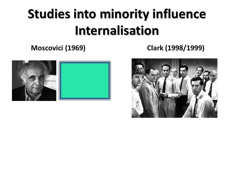 Studies into minority influence Internalisation