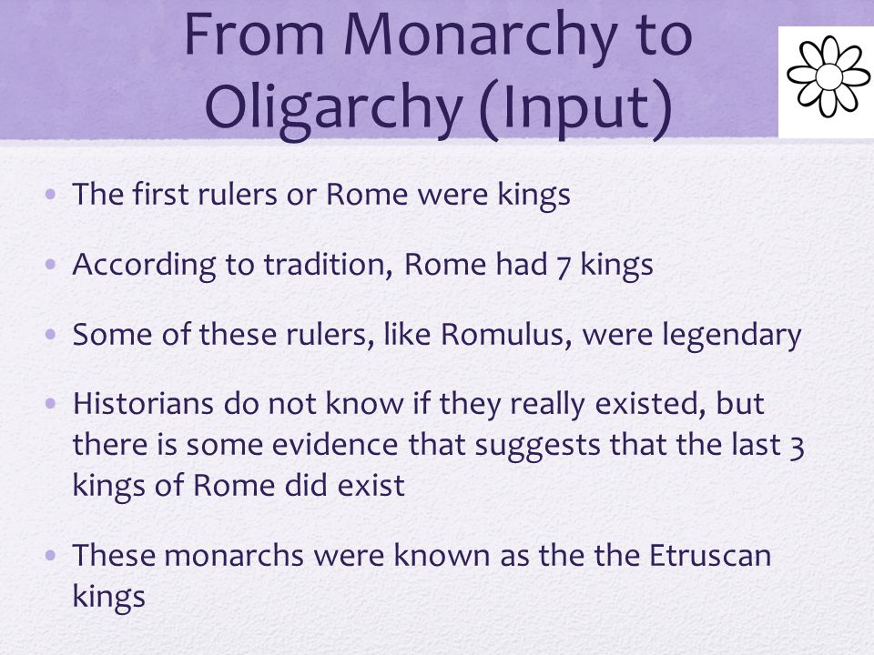 From Monarchy to Oligarchy (Input)