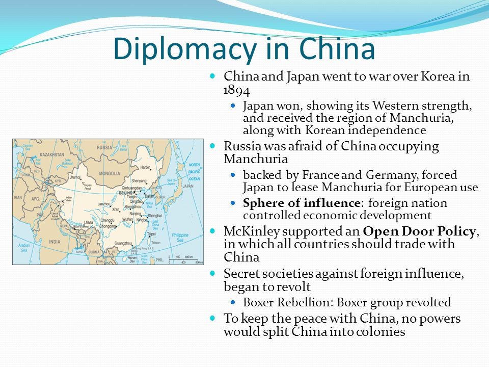 Diplomacy in China China and Japan went to war over Korea in 1894