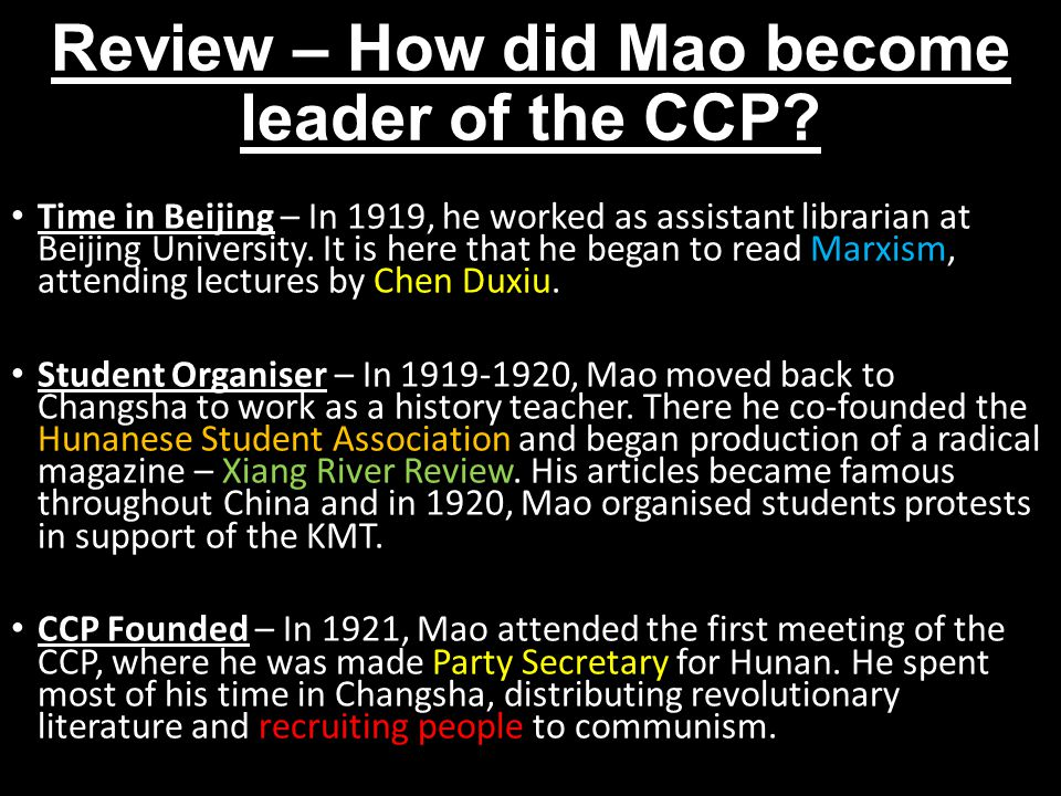 Review – How did Mao become leader of the CCP