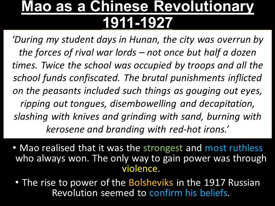 Mao as a Chinese Revolutionary 1911-1927