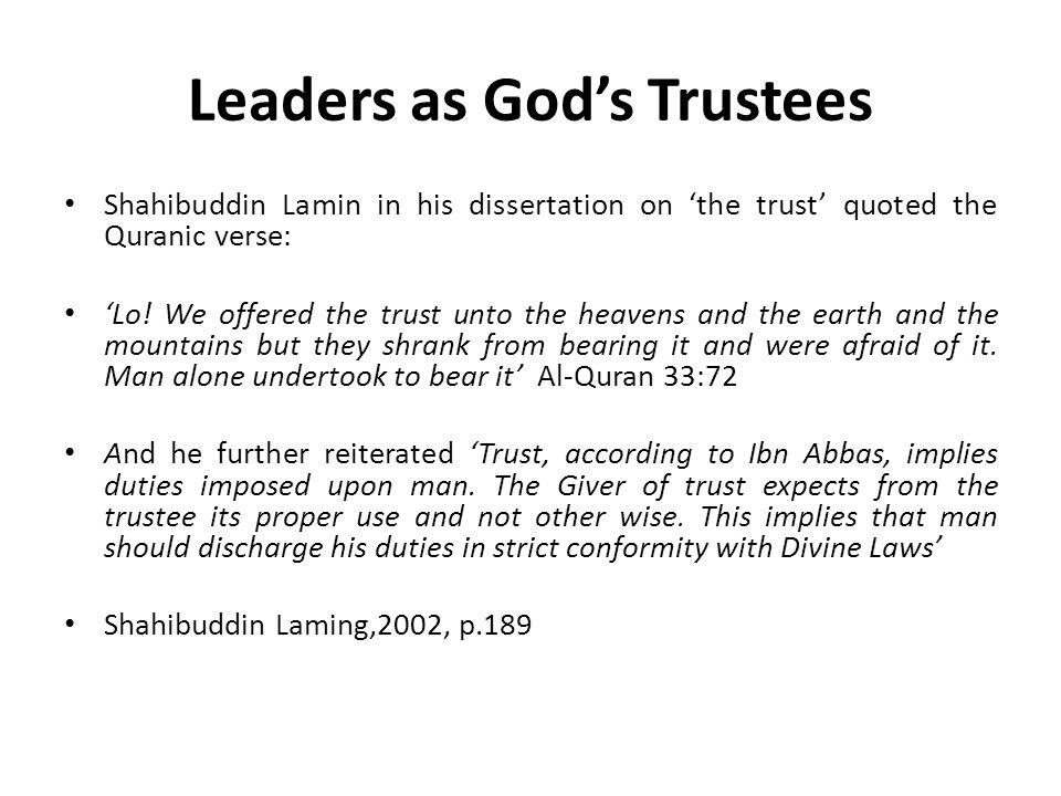 Leaders as God's Trustees