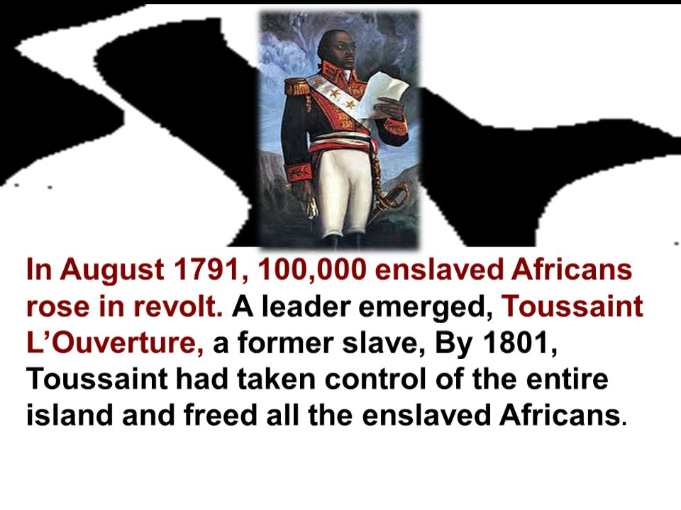 In August 1791, 100,000 enslaved Africans rose in revolt