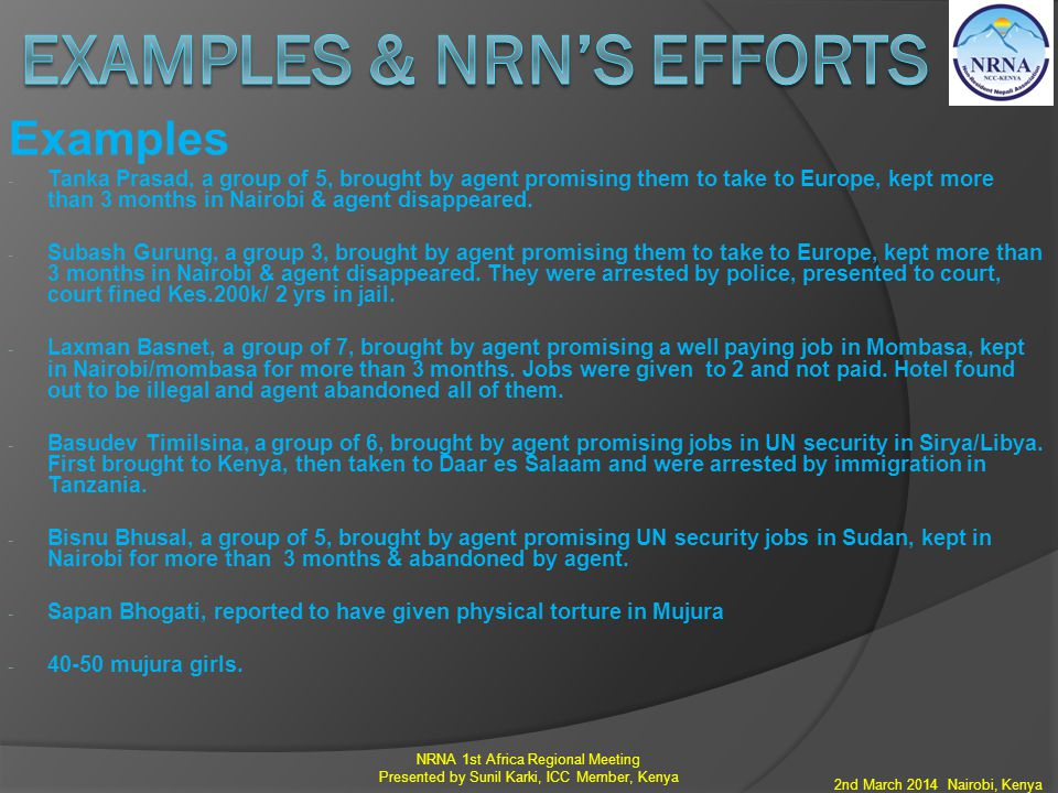 Examples & NRN's efforts