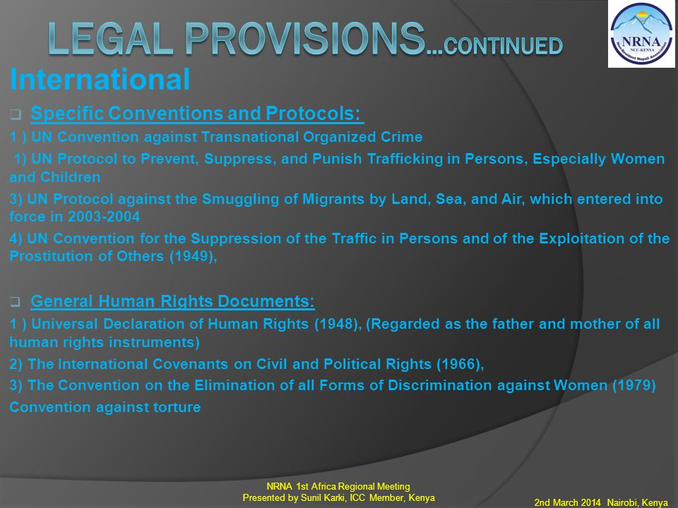 Legal provisions…continued