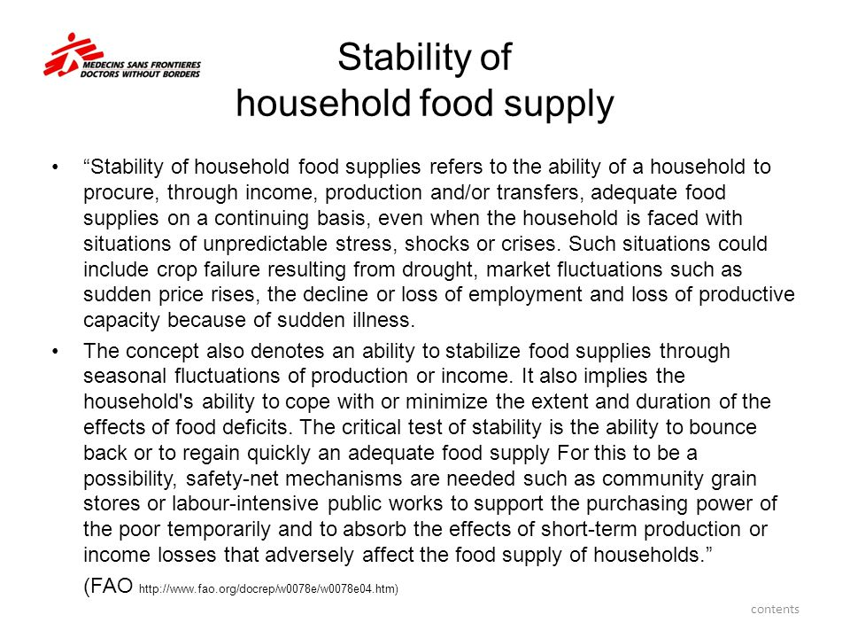 Stability of household food supply