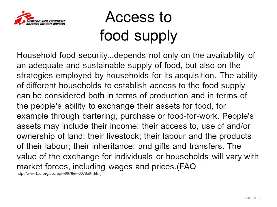 Access to food supply