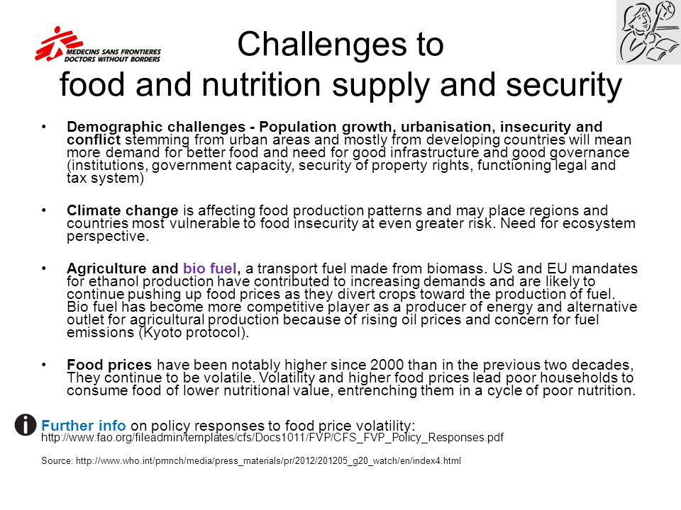 Challenges to food and nutrition supply and security