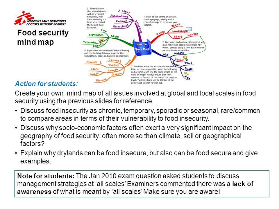 Food security mind map Action for students: