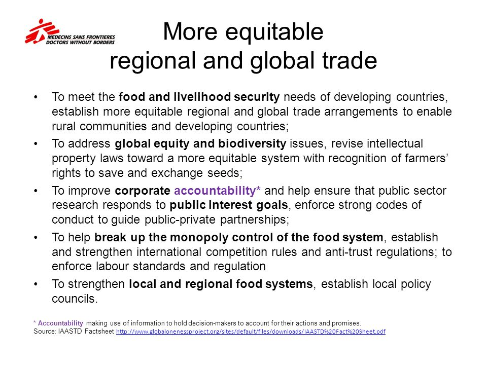 More equitable regional and global trade