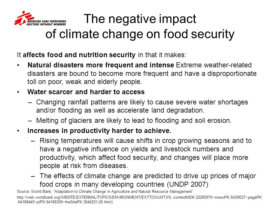 The negative impact of climate change on food security