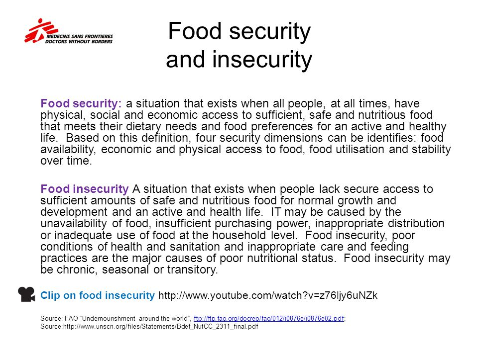 Food security and insecurity