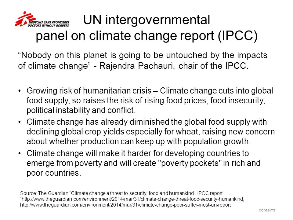 UN intergovernmental panel on climate change report (IPCC)