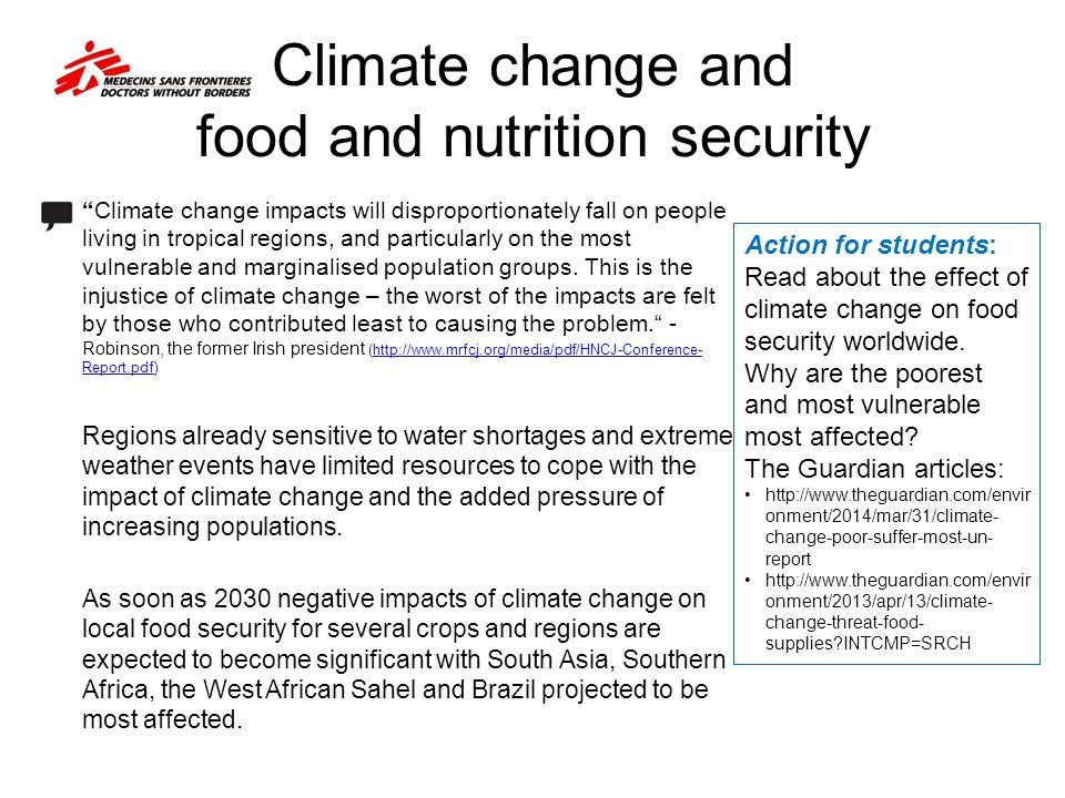 Climate change and food and nutrition security