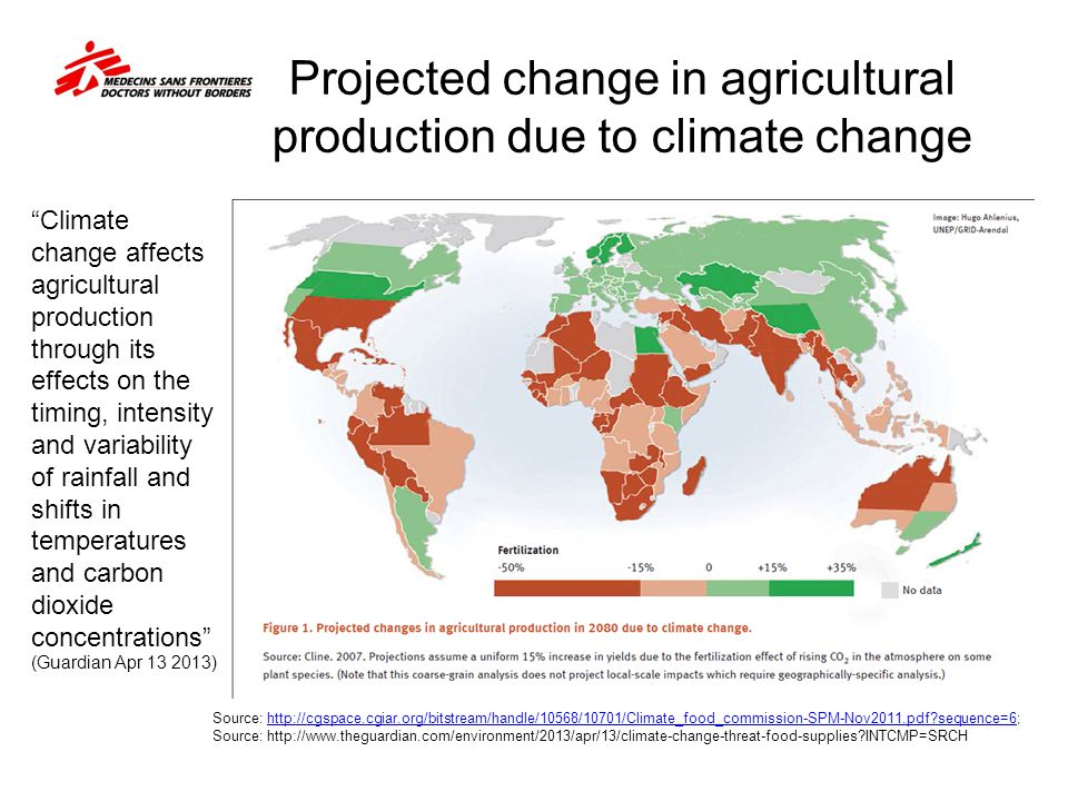 Projected change in agricultural production due to climate change