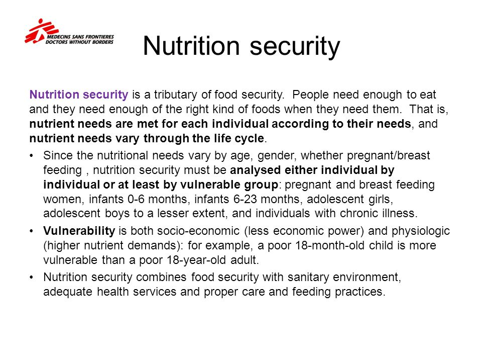 Nutrition security