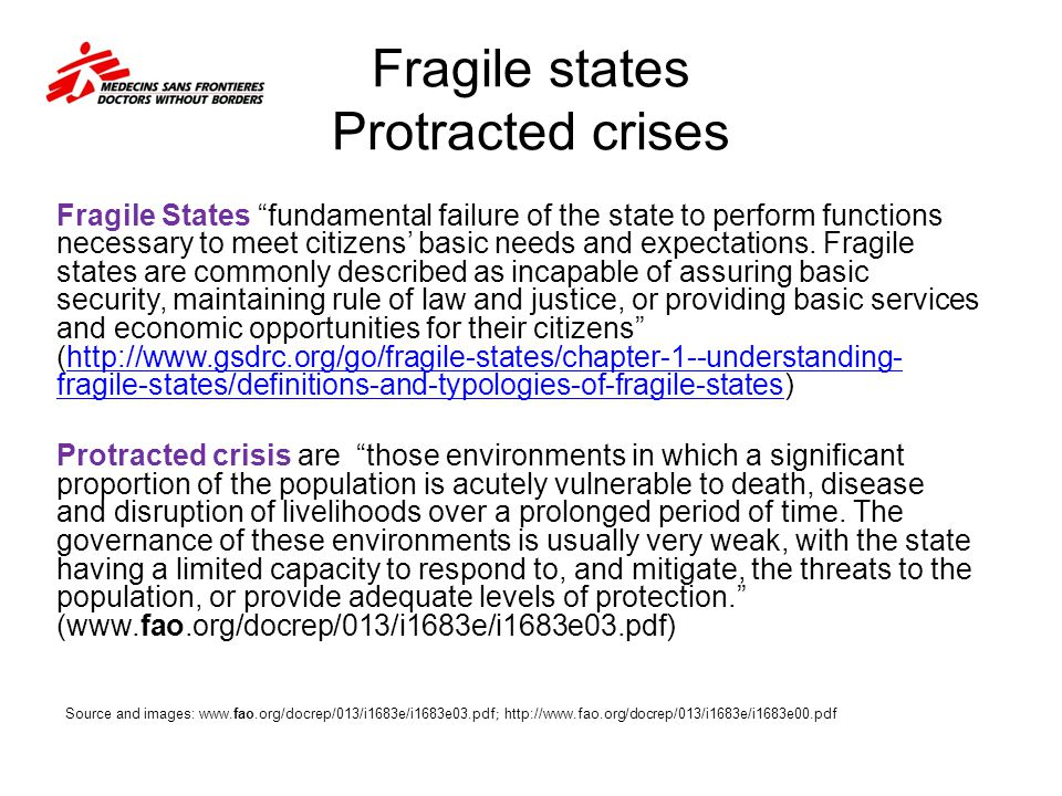 Fragile states Protracted crises