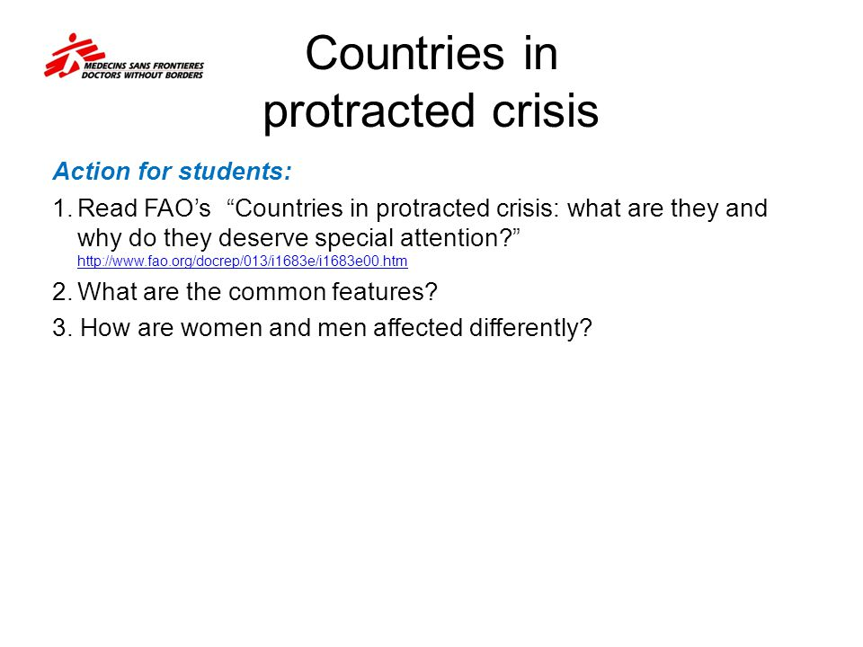 Countries in protracted crisis