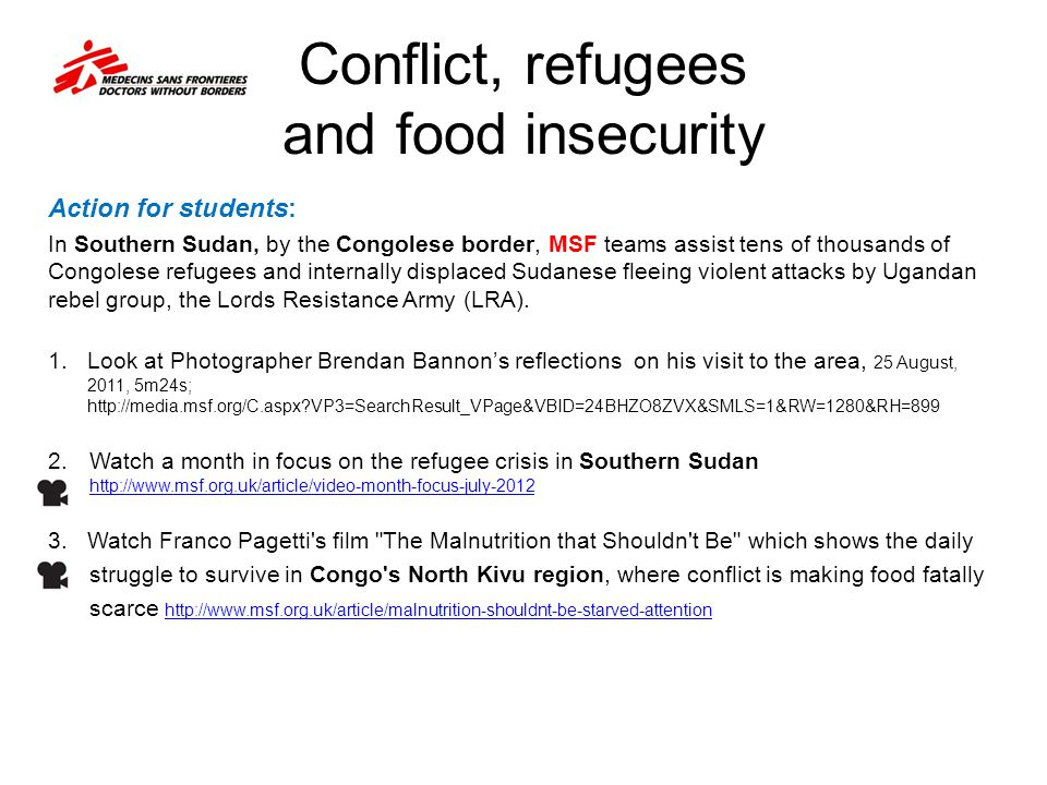 Conflict, refugees and food insecurity