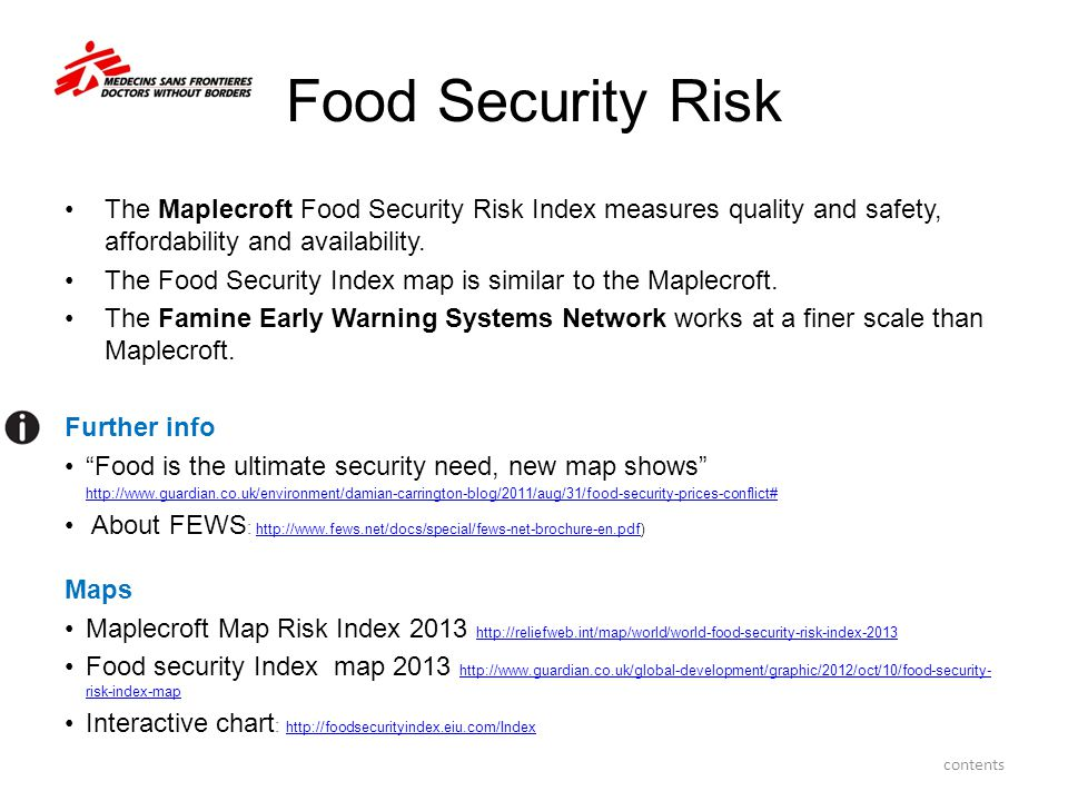 Food Security Risk The Maplecroft Food Security Risk Index measures quality and safety, affordability and availability.