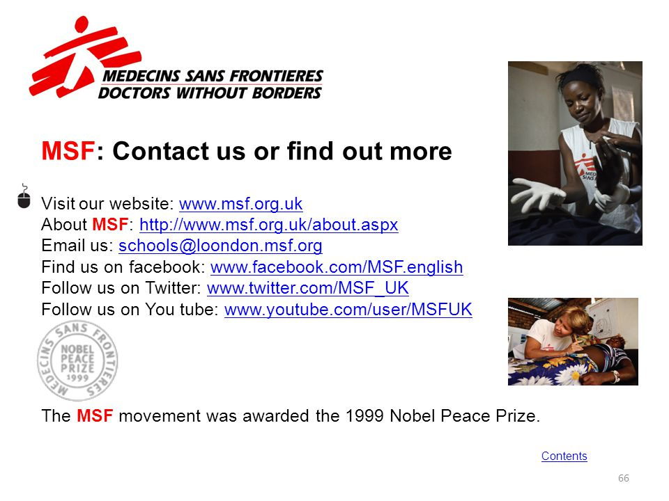 MSF: Contact us or find out more