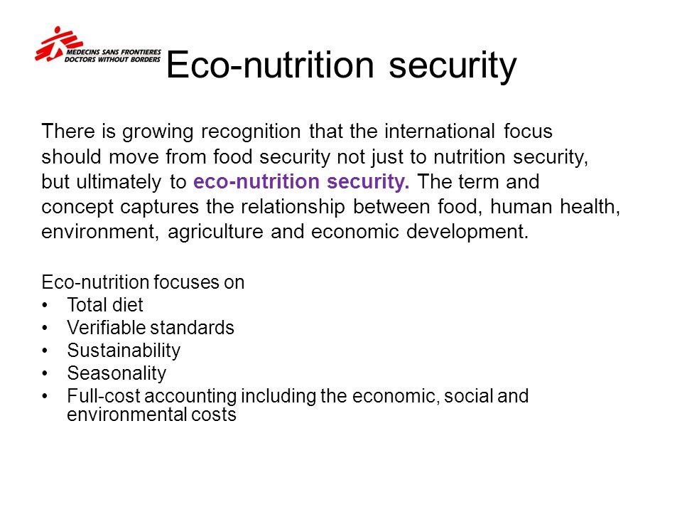 Eco-nutrition security