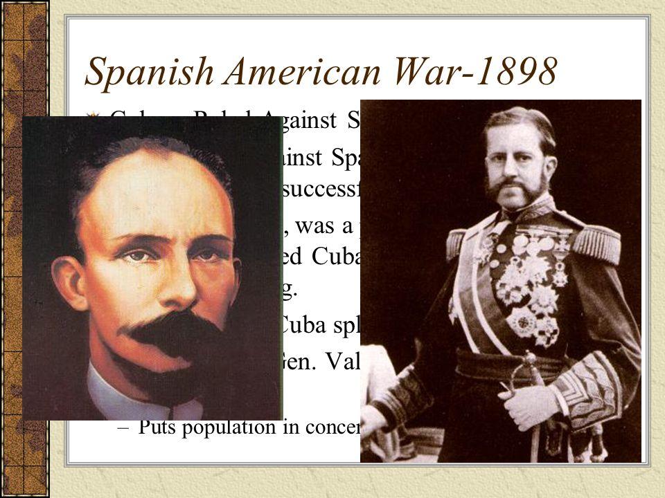 Spanish American War-1898 Cubans Rebel Against Spain