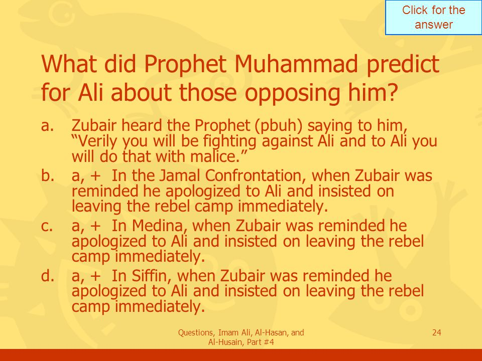What did Prophet Muhammad predict for Ali about those opposing him