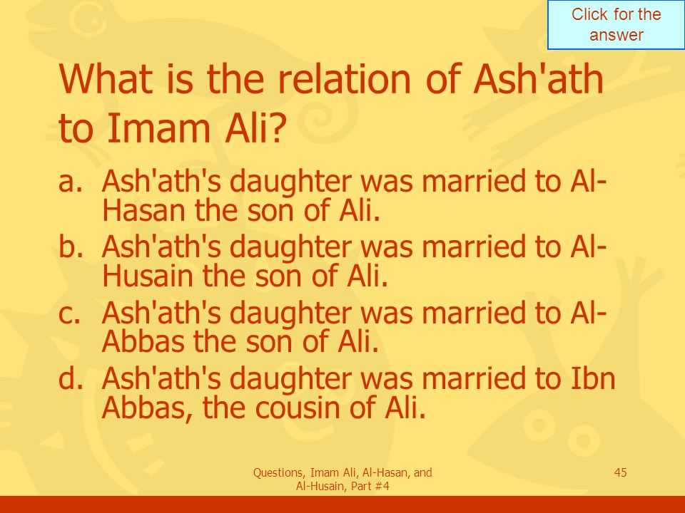 What is the relation of Ash ath to Imam Ali