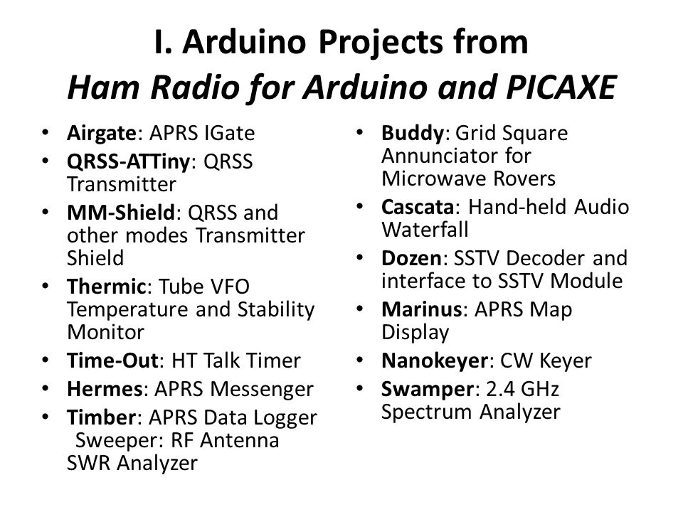 I. Arduino Projects from Ham Radio for Arduino and PICAXE