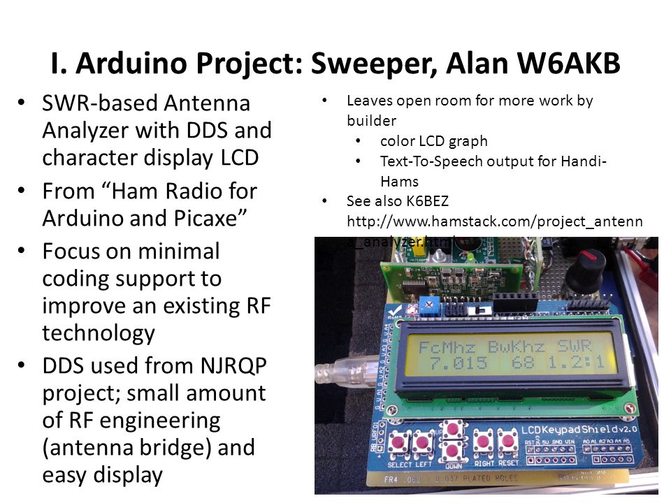 I. Arduino Project: Sweeper, Alan W6AKB