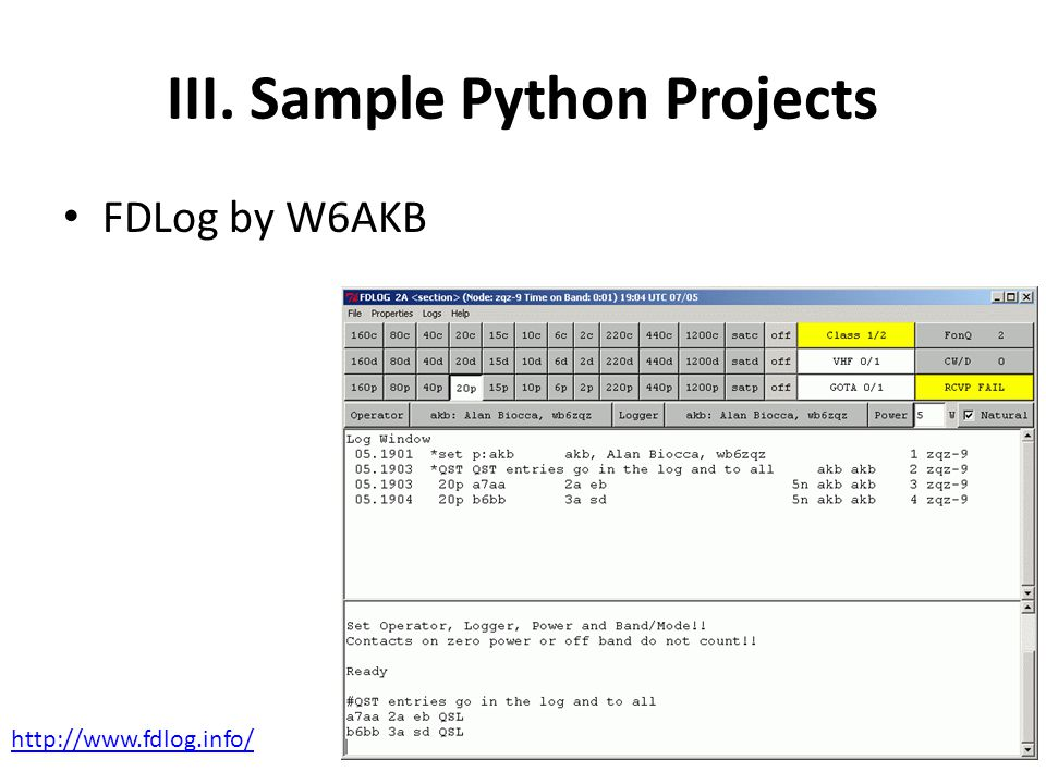 III. Sample Python Projects