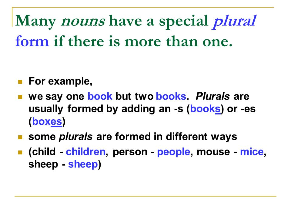 Many nouns have a special plural form if there is more than one.