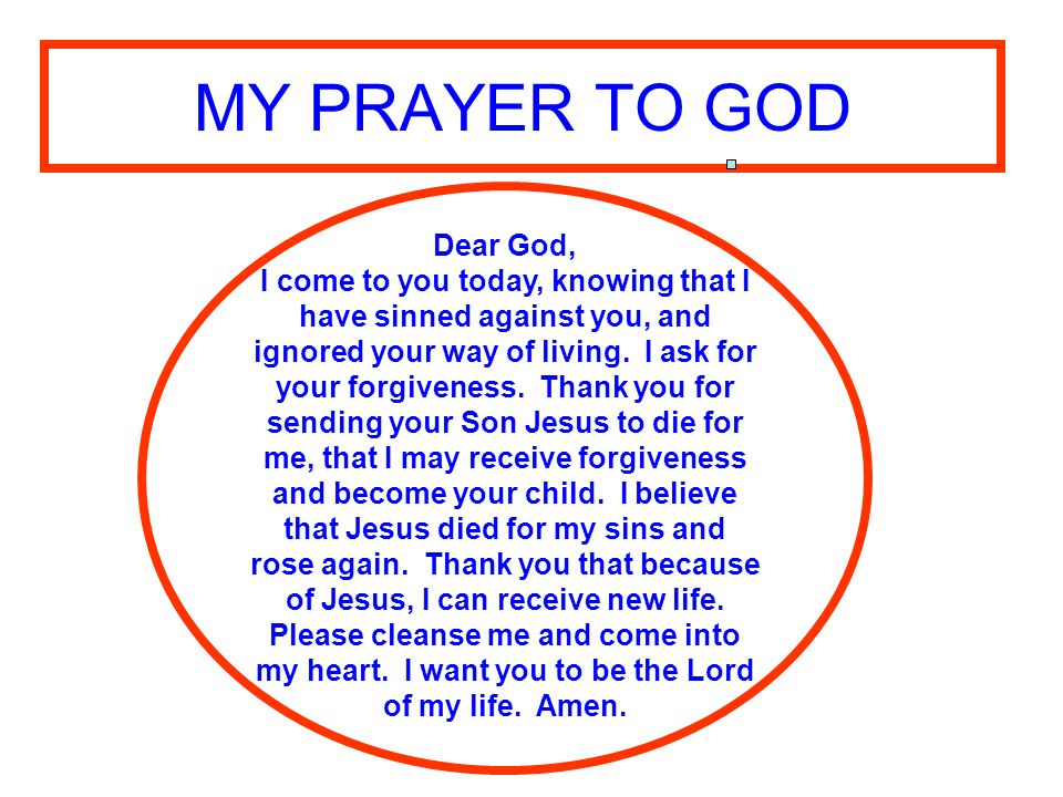 MY PRAYER TO GOD Dear God,