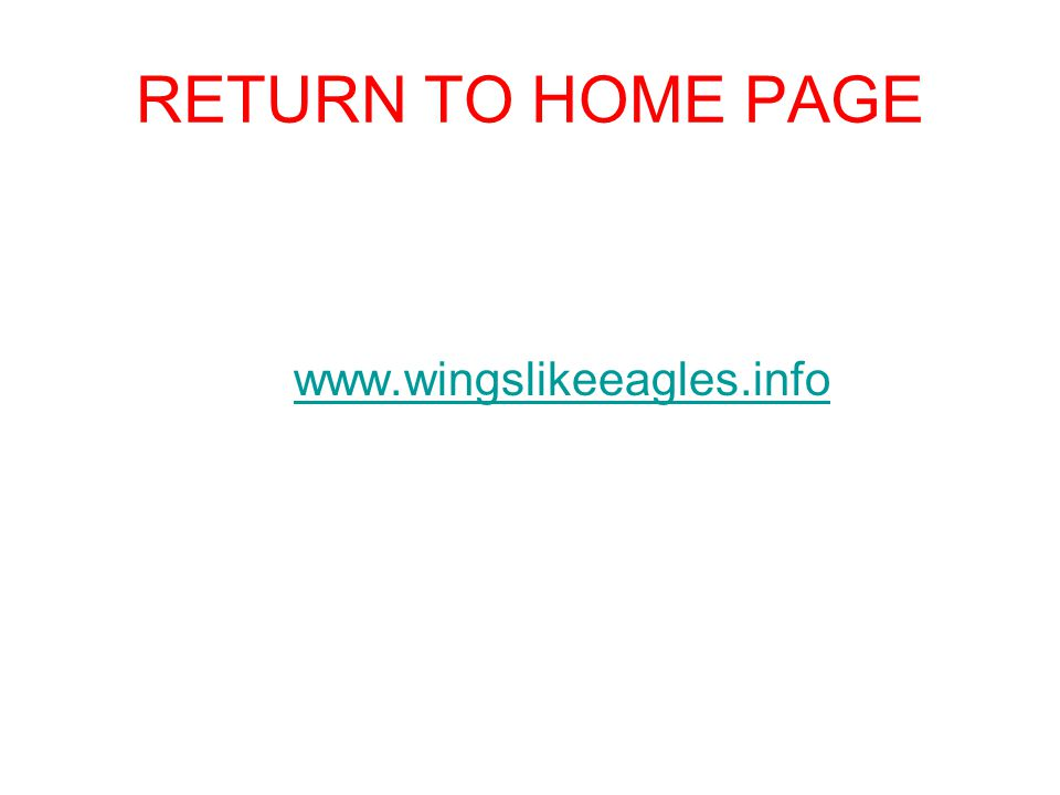 RETURN TO HOME PAGE www.wingslikeeagles.info