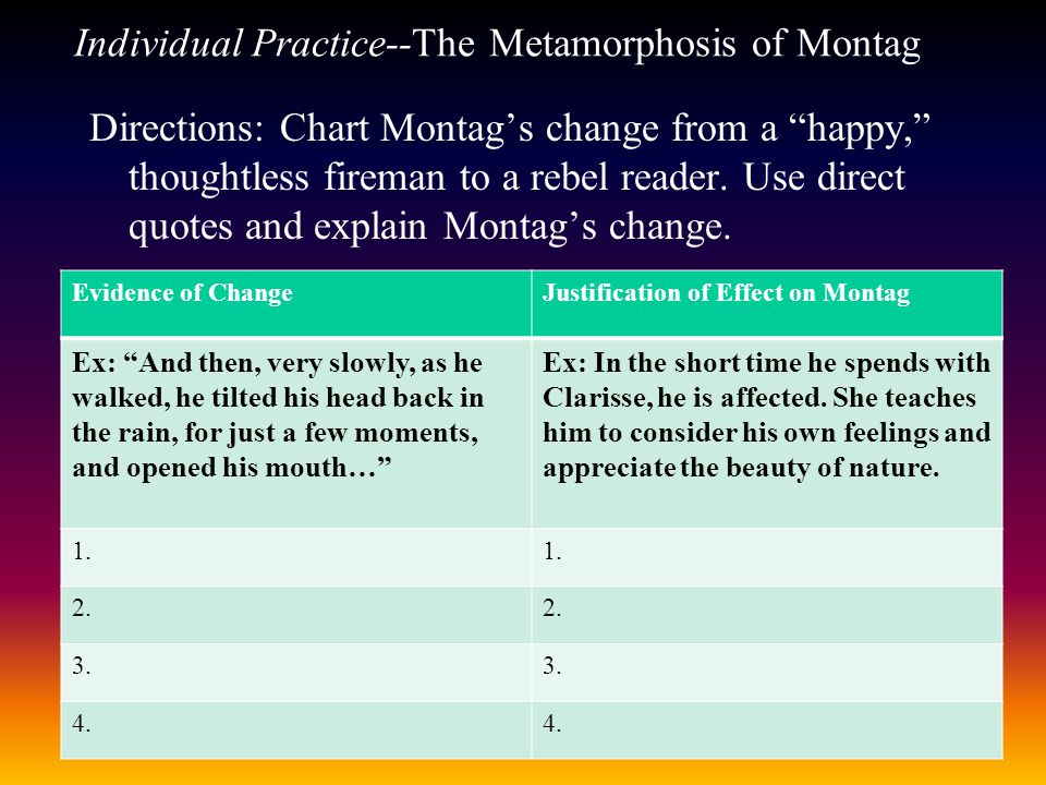 Individual Practice--The Metamorphosis of Montag